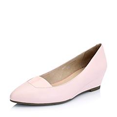 Bata/拔佳2015春季粉色羊皮62203AQ5女鞋坡跟浅口  瑞丽