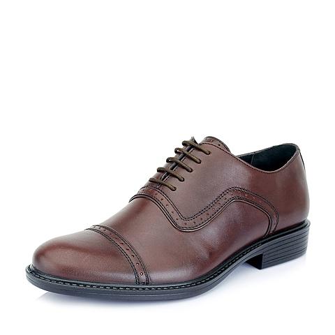 Bata/拔佳春季咖啡色牛皮81101AM5男鞋 时尚休闲
