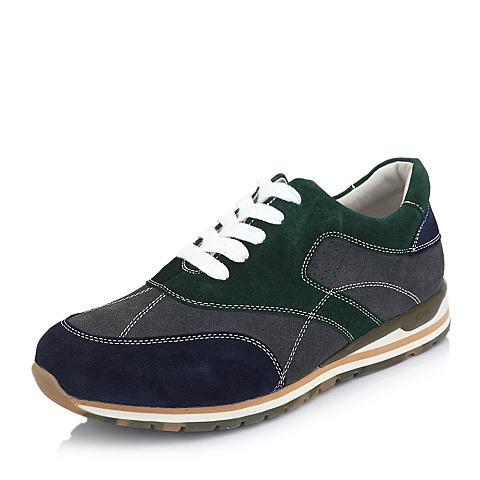Bata/拔佳春季墨绿色牛猄皮85701AM5男鞋 运动休闲