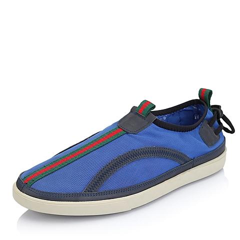 BATA/拔佳春季蓝色网布/牛皮平跟满帮男鞋85801AM5 舒适