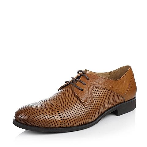 Bata/拔佳夏季棕色牛皮男单鞋A7Z05BM5