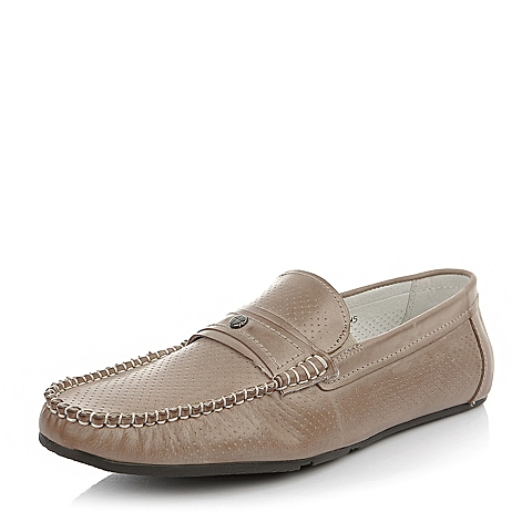 Bata/拔佳夏季男士灰色牛皮休闲欧美风男单鞋81203BM5