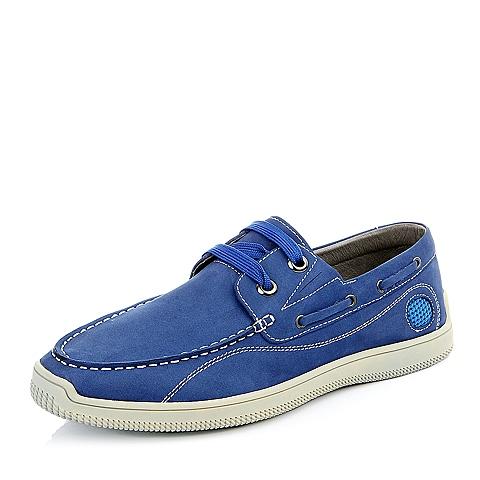 Bata/拔佳夏季男士蓝色磨砂牛皮时尚休闲系男单鞋85102BM5