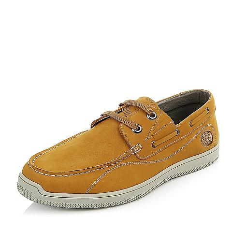 Bata/拔佳夏季男士黄色磨砂牛皮时尚休闲系男单鞋85102BM5