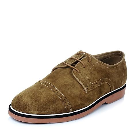 Bata/拔佳夏季男士黄色羊绒皮革时尚休闲男单鞋85301BM5