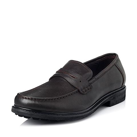 Bata/拔佳秋季专柜同款啡色时尚商务休闲牛皮男单鞋81902CM5