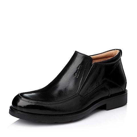 Bata/拔佳冬季专柜同款男士黑色牛皮商务正装男靴82H46DD5