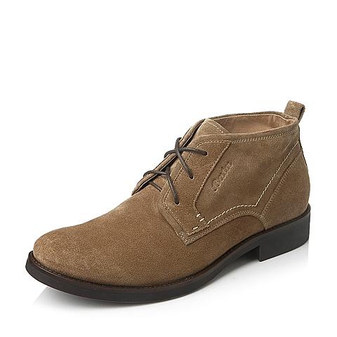 Bata/拔佳冬季专柜同款棕色二层牛皮男靴(防静电)A6D44DD5