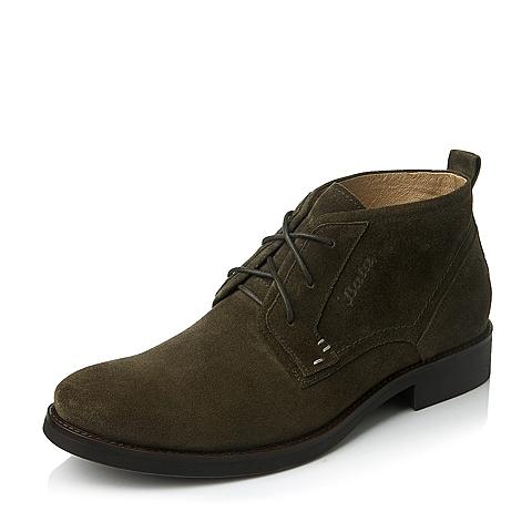 Bata/拔佳冬季专柜同款墨绿色二层牛皮男靴(防静电)A6D44DD5