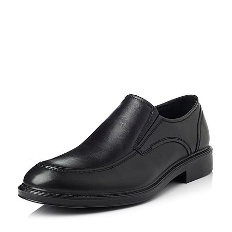 Bata/拔佳冬季专柜同款黑色牛皮男休闲鞋81107DM5