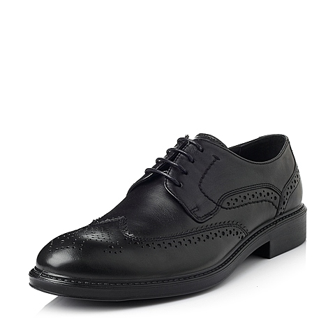 Bata/拔佳冬季专柜同款黑色牛皮男休闲鞋81108DM5