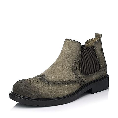 Bata/拔佳冬季专柜同款杏灰色时尚休闲二层牛皮男靴A5S52DD5
