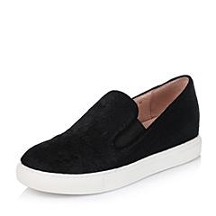 Bata/拔佳秋季专柜同款黑色时尚舒适马毛皮女休闲鞋F01-2CM5