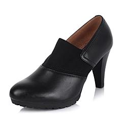 Bata/拔佳秋季专柜同款黑色油皮牛皮女鞋AUR53CM5