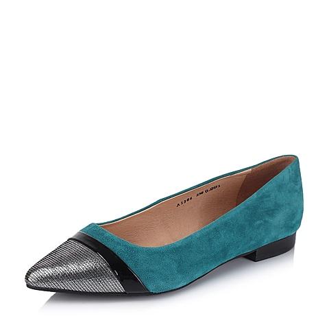 BATA/拔佳秋季专柜同款蓝绿时尚撞色拼接女单鞋AI306CQ5