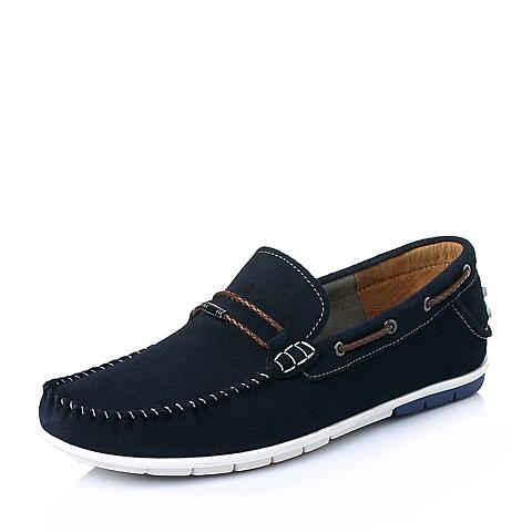 Bata/拔佳春季蓝色牛反绒时尚休闲男单鞋84602AM6