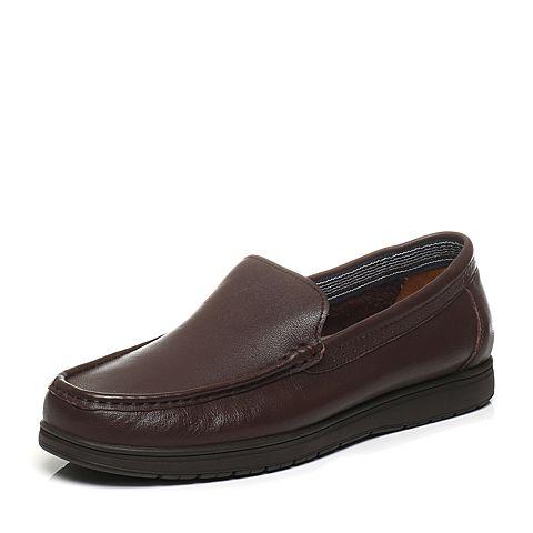 Bata/拔佳春季专柜同款啡色牛皮男单鞋8703-1AM