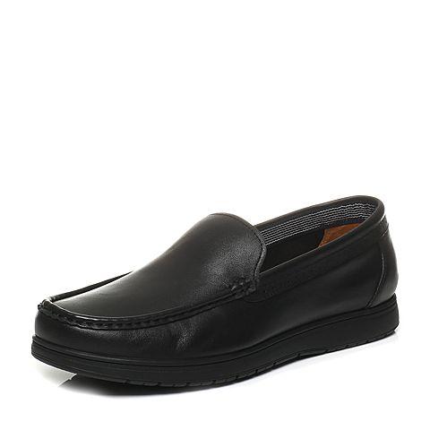 Bata/拔佳春季专柜同款黑色牛皮男单鞋8703-1AM