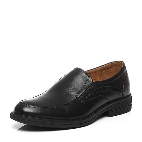 Bata/拔佳春季专柜同款黑色牛皮男单鞋887-21AM