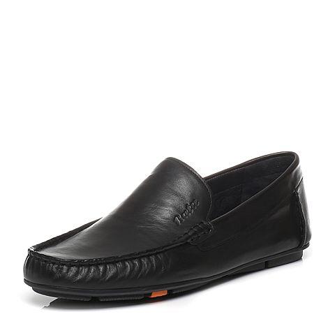 Bata/拔佳春季专柜同款黑色绵羊皮平跟男休闲鞋(超软)A8S13AM6