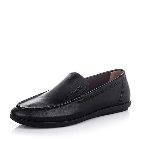 Bata/拔佳夏季黑色油皮牛皮商务休闲男单鞋83M02BM6