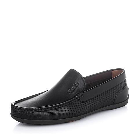 Bata/拔佳2016夏季黑色油皮牛皮柔软舒适男单鞋A9N50BM6