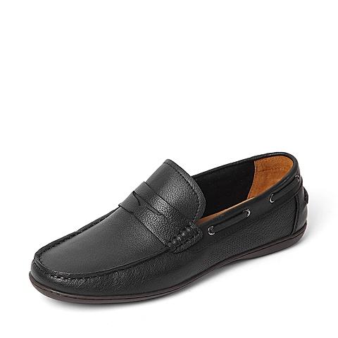 Bata/拔佳2016夏季专柜同款黑色牛皮革男鞋353-1BM6 专柜1