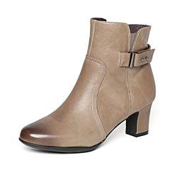 Bata/拔佳冬季专柜同款灰色时尚皮带扣粗跟牛皮女短靴(软)AQ542DD6