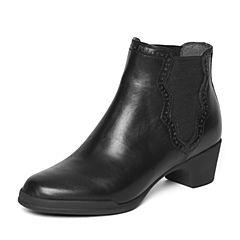 Bata/拔佳冬季专柜同款黑色时尚雕花粗跟小牛皮女短靴(软)AV440DD6