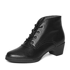 Bata/拔佳冬季专柜同款黑色时尚简约粗跟小牛皮女短靴AV441DD6