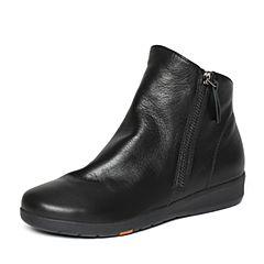 Bata/拔佳冬季专柜同款黑色简约平跟牛皮女休闲短靴(软)AV542DD6