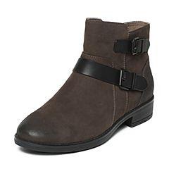 Bata/拔佳冬季专柜同款灰色时尚皮带扣圆头粗跟女短靴D13-2DD6