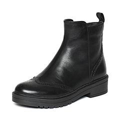 Bata/拔佳冬季专柜同款黑色雕花小牛皮绒里女短靴AU445DD6