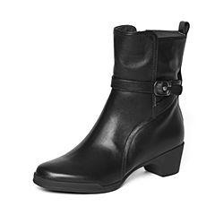 Bata/拔佳冬季专柜同款黑色时尚皮带扣小牛皮女中靴(软)AV461DZ6