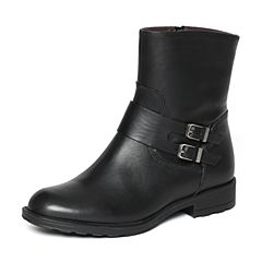 Bata/拔佳冬季专柜同款黑色时尚皮带扣小牛皮女短靴AZC74DZ6