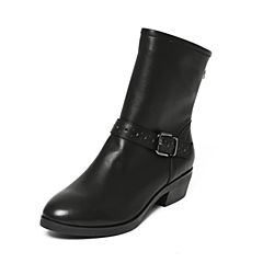 Bata/拔佳冬季专柜同款黑色时尚皮带扣方跟牛皮女靴517-4DZ6
