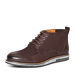 Bata/拔佳冬季专柜同款啡色简约舒适平跟牛皮男短靴17-12DD6