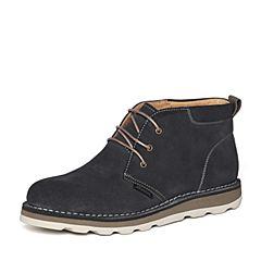 Bata/拔佳冬季专柜同款深蓝时尚简约平跟牛皮男低靴909-2DD6