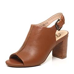 BATA/拔佳夏季专柜同款棕色牛皮女凉鞋16041BL6