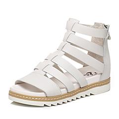 BATA/拔佳夏季专柜同款白色牛皮罗马风女凉鞋09-1QBL6