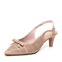BATA/拔佳春季专柜同款粉色淑女蝴蝶结牛皮女凉鞋AN702AH6