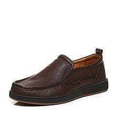 Bata/拔佳秋季专柜同款牛皮啡色时尚套脚男单鞋335-6CM6