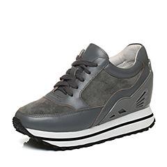 Bata/拔佳秋季专柜同款灰色时尚拼接女休闲鞋188-1CM6