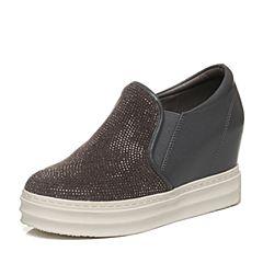 Bata/拔佳秋季专柜同款灰色时尚拼接女休闲单鞋188-2CM6