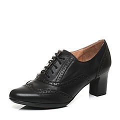 Bata/拔佳秋季专柜同款时尚雕花粗跟牛皮女单鞋AQ520CM6