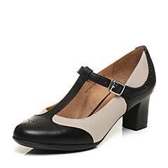 Bata/拔佳专柜同款时尚雕花拼接胎牛皮玛丽珍女单鞋AQ505CQ6