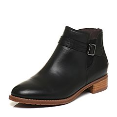 Bata/拔佳秋专柜同款黑色皮带扣方跟小牛皮女短靴AJ453CD6