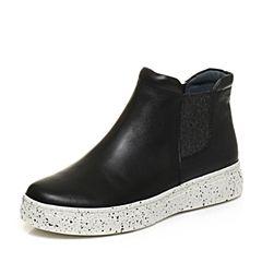 Bata/拔佳秋专柜同款黑色休闲简约厚底女短靴AP240CD6
