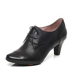 Bata/拔佳春季专柜同款黑色OL通勤圆头锥形跟女单鞋AD324AM7