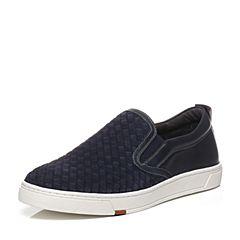 Bata/拔佳春季专柜同款深兰色圆头平跟套脚乐福鞋男休闲鞋82P29AM7